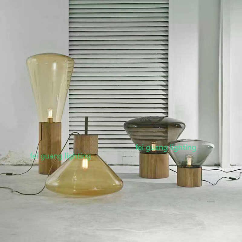 Brokis Muffins Floor Lamp Wood Base Glass Shade Lighting Nordic Design Modern Floor Lamp Novelty Vintage Bulb Fixture Livingroom