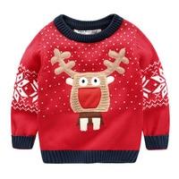 מגי הליכון של בנים חג מולד הצבאים סוודר סתיו 2017 וחורף בנות קיד תינוק בסוודרים עבים וחמים ללבוש אדום חג המולד סוודר