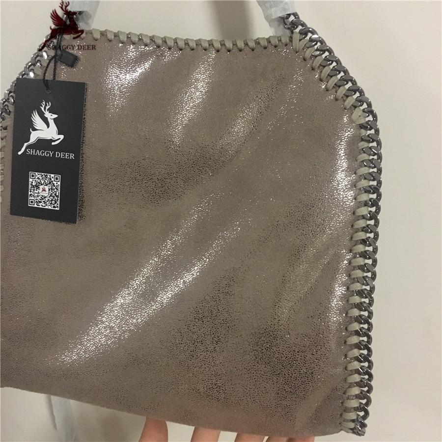 Exclusive Shinny Kaki Shaggy Deer PVC Fuax Leather 25CM Small Size Steel Chian Fold Over Lady Luxury Chain Bag
