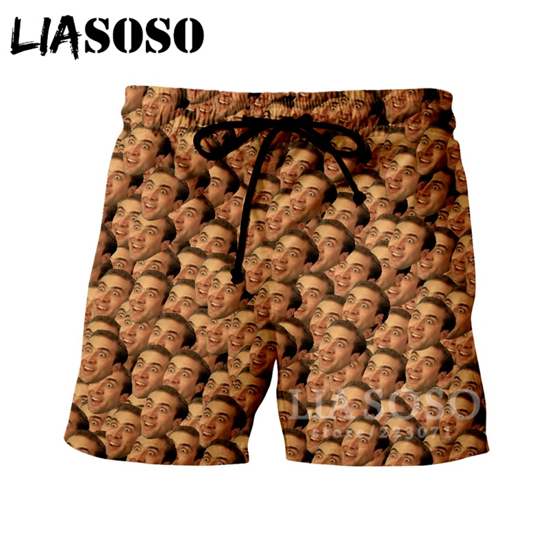 LIASOSO Summer New Men Women Fashion Shorts 3D Print Star Nicolas Cage Shorts Beach Fitness Loose Sports Harajuku Pants B054-07