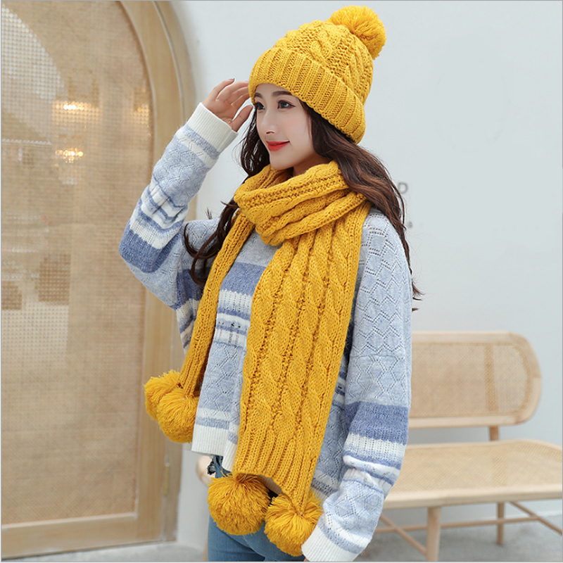 Buy Now  Hot Sale 2-Piece/Set Winter Hat And Scarf Women's Warm Scarves Cap Thick Knit Pompom Beanie Gift Se