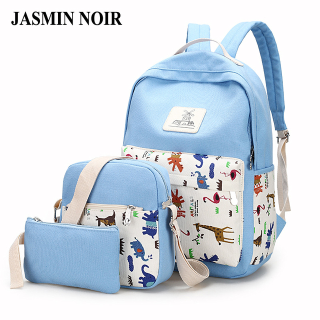 2016 verão nova 3 pcs designer mulheres mochila conjunto feminino impressão animal da lona saco de escola os alunos mochila com dois sólidos sacos