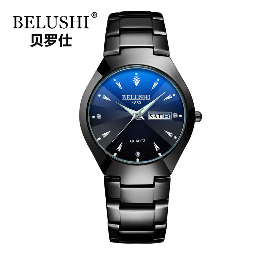 Image 2 - Couple Watches 2019 Top Quality Tungsten Steel Black Wrist Watch for Men and Women Bracelet Female Watch Reloj Hombre Lover Saat-in Lover's Watches from Watches