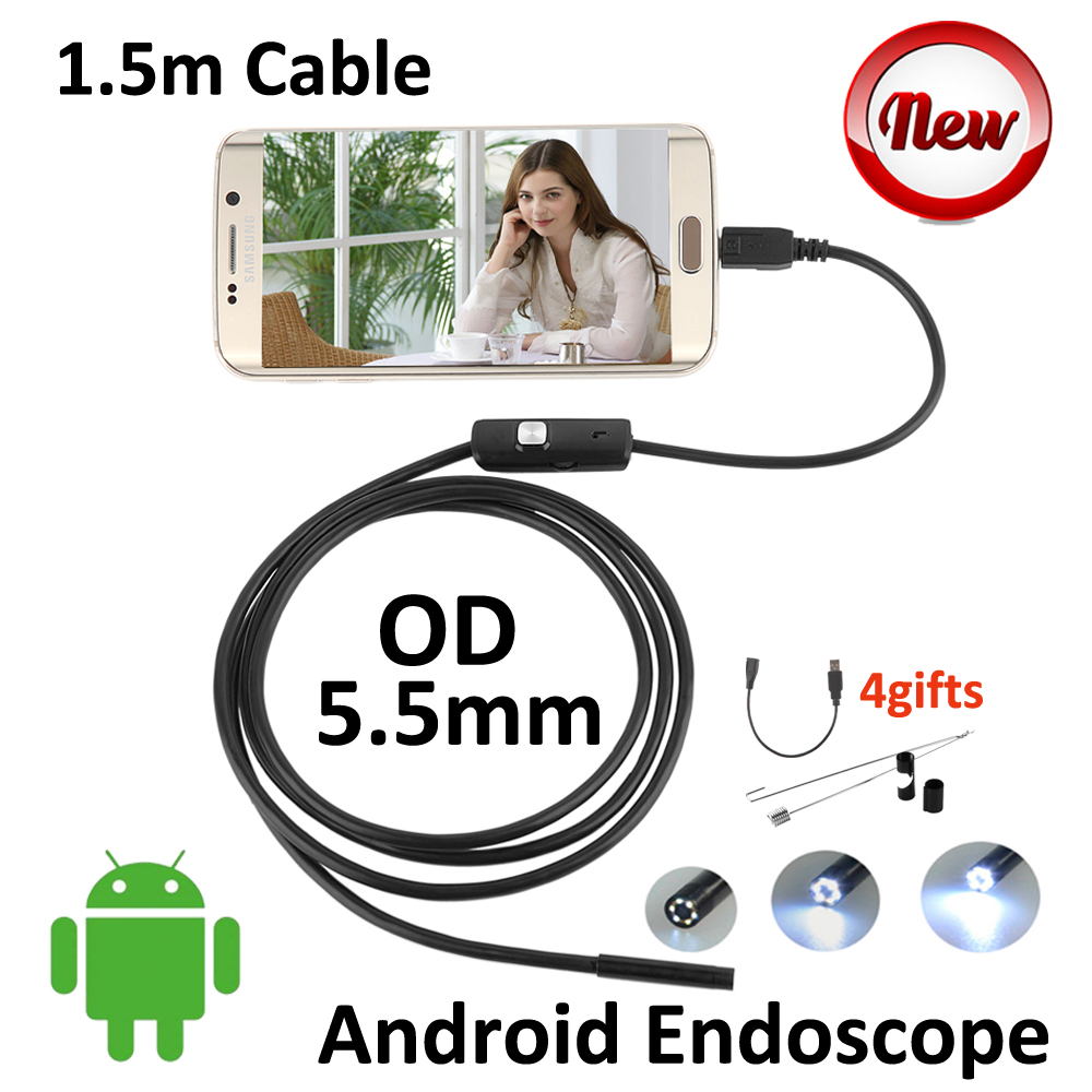 Mini USB Android Endoscope 1.5M 5.5mm Snake Tube IP67 Waterproof Inspection Pipe Borescope Android OTG USB Camera Side Mirror eyoyo nts200 endoscope inspection camera with 3 5 inch lcd monitor 8 2mm diameter 2 meters tube borescope zoom rotate flip