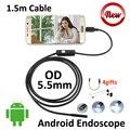 Mini USB Endoscópio Android 1.5 M 5.5mm Tubo Endoscópio Inspeção Cobra Tubo IP67 À Prova D' Água Android USB OTG Câmera Lado espelho