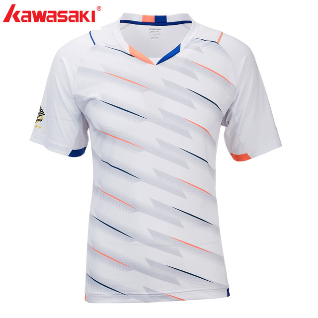 Genuine Kawasaki High-Elastic Functional Fabric Badminton T-Shirt For Men Short Sleeves Quick Dry V-Neck Sportswear ST-T1001