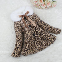 FREE SHIPPING Girls Fur Coat Clothing Leopard Winter Wear Clothes Baby Children Faux Fur Dress Dresses Style Jacket 2017
