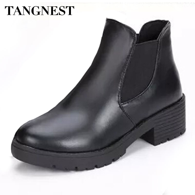 Tangnest Women Boots 2017 Autumn Fashion Chelsea Boots For Women Slip-on Platform Shoes Ladies Pu Leather Ankle Boot XWX4866 women s genuine suede leather hemp wedge platform slip on autumn ankle boots brand designer leisure high heeled shoes for women