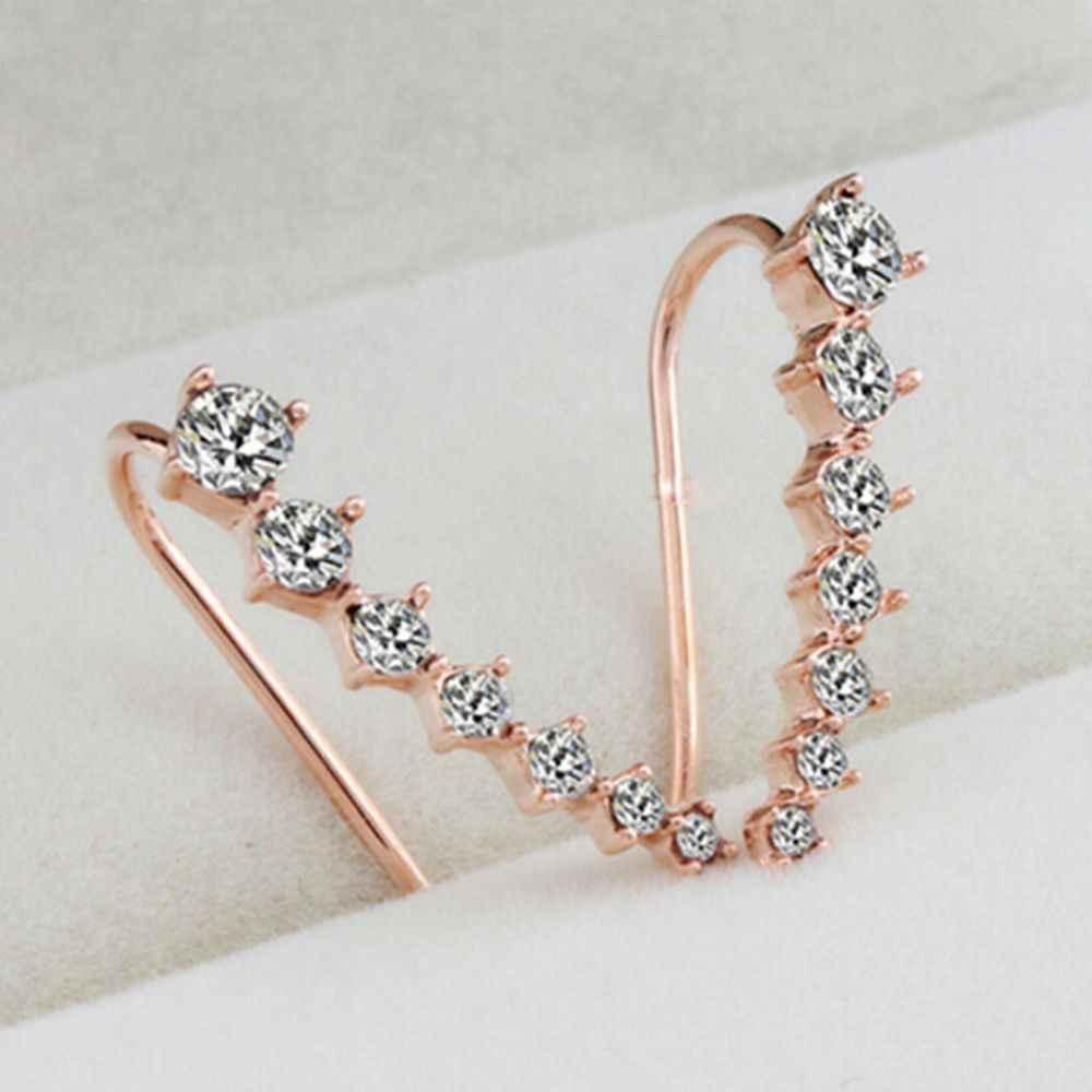 1 para nowa modna biżuteria z kryształkami kolczyki dla kobiet 2019 Hot Clip Piercing Gold Sliver kolor mankietowe kolczyki