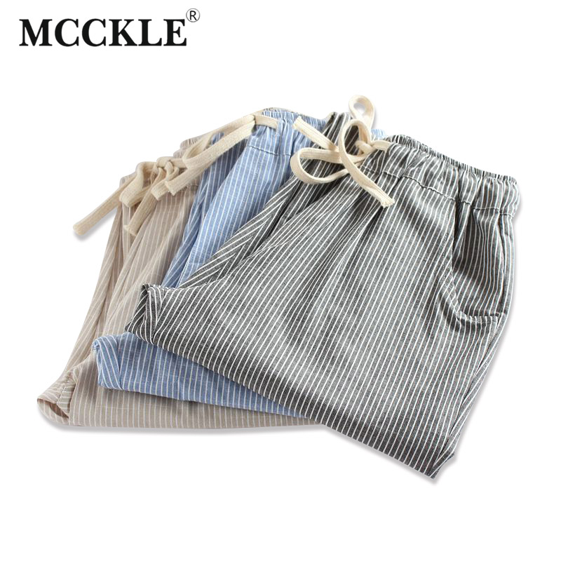 Linned Cotton Striped High Waist Woman's Harem Pants Lace Up Bukser til Kvinder 2019 Spring Fashion Loose Casual Bukser Kvinde