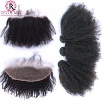 13x4 Lace Frontal Closure Afro Kinky Curly Mongolian Hair Weave 4 Pcs 3 Human Hair Bundles