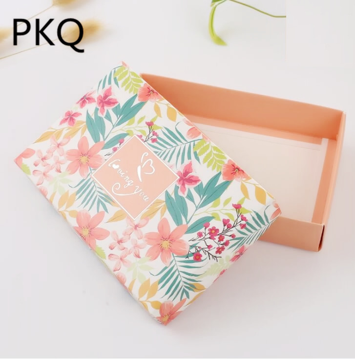 Qi 20pcs Orange Flowers Wedding Favor Gift Boxes with Lid Baby Shower Paper Favor Large Box Gifts Clothes Packing Box 18*12*4cm
