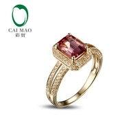 1.95ct CaiMao Naturalny Różowy Tourmaline & 0.50ct Diament 18 k Yellow Gold gemstone pierścionek zaręczynowy Fine Jewelry