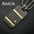 Fashion Male's Dog Tag Stainless Steel Pendant Gun Black Plated Jewelry With Beads Chain Necklace For Men Jewelry