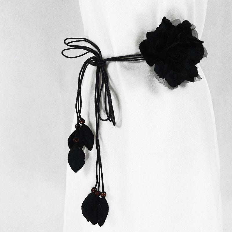 2019 Women Fashion Flower String Tassel Waist Belts For Dresses Knot Female Ladies All-match Waistband Belt Ceinture Femme Black