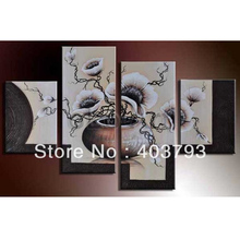 MODERN ABSTRACT HUGE WALL ART OIL PAINTING ON CANVAS beautiful base flower free shipping