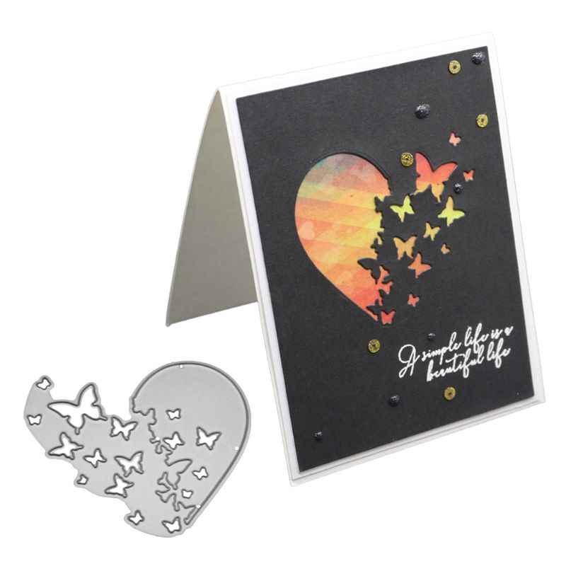 Heart Butterfly Metal Cutting Dies Stencil DIY Scrapbooking Album Stamp Paper Card Embossing Craft Decor