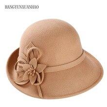 HANGYUNXUANHAO Winter Women Hat Christmas Gift Keep Warm Fashion Wool Felt Hat Youth Wool Cloche Cap With Handmade Flower