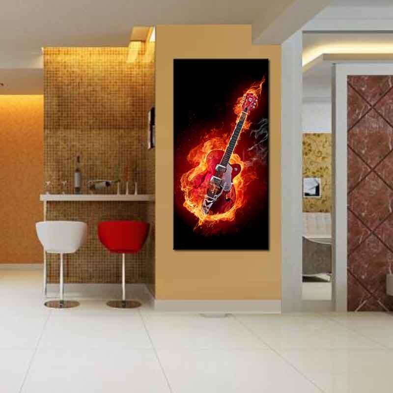1 Stücke Fire Gitarre Leinwanddruck Kunst Malerei Abstrakte Rot ...