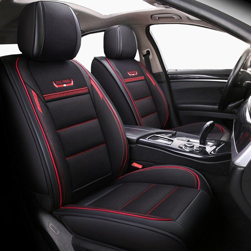 (Avant + arrière) housses de siège auto en cuir et lin pour Audi a3 a4 b6 b8 a6 a5 q7 beige café housses de siège de voiture souple marque bmw auto styling