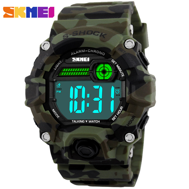 SKMEI Men's Sport Military Watches Men Talking Alarm Clock Snooze Time LED Digital Watch Man PU strap Waterproof Wristwatches