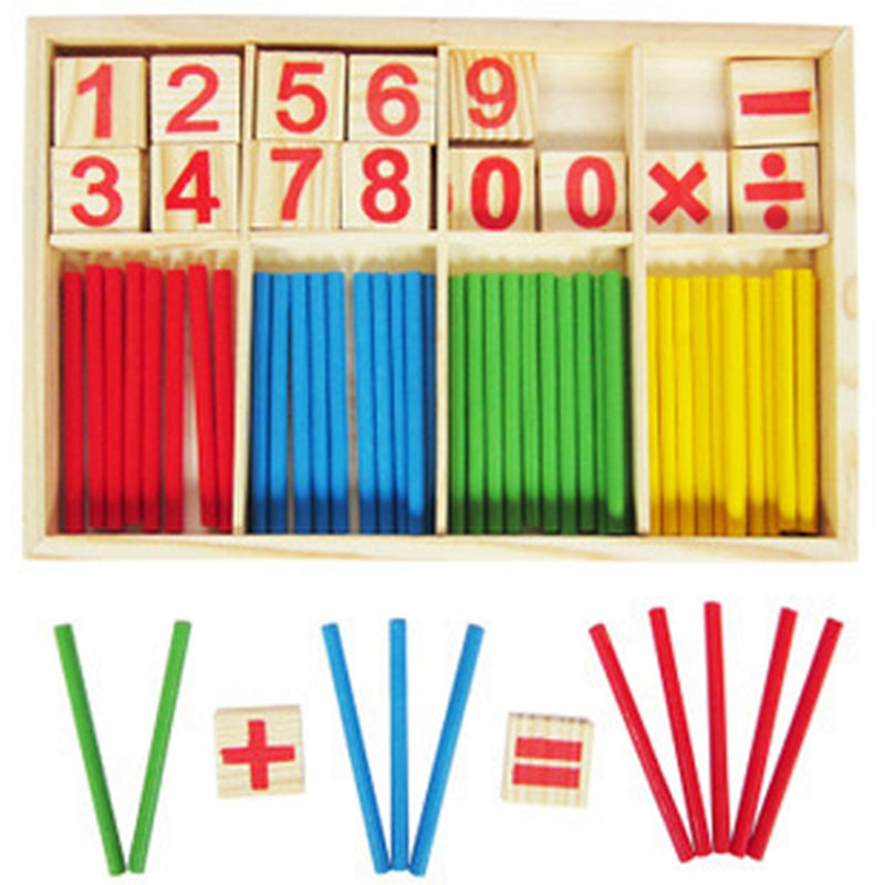 Wooden Counting Sticks Toys Early Learning Education Number Math Game Puzzle Sticks Teaching Toys for Kids Baby Child Gifts