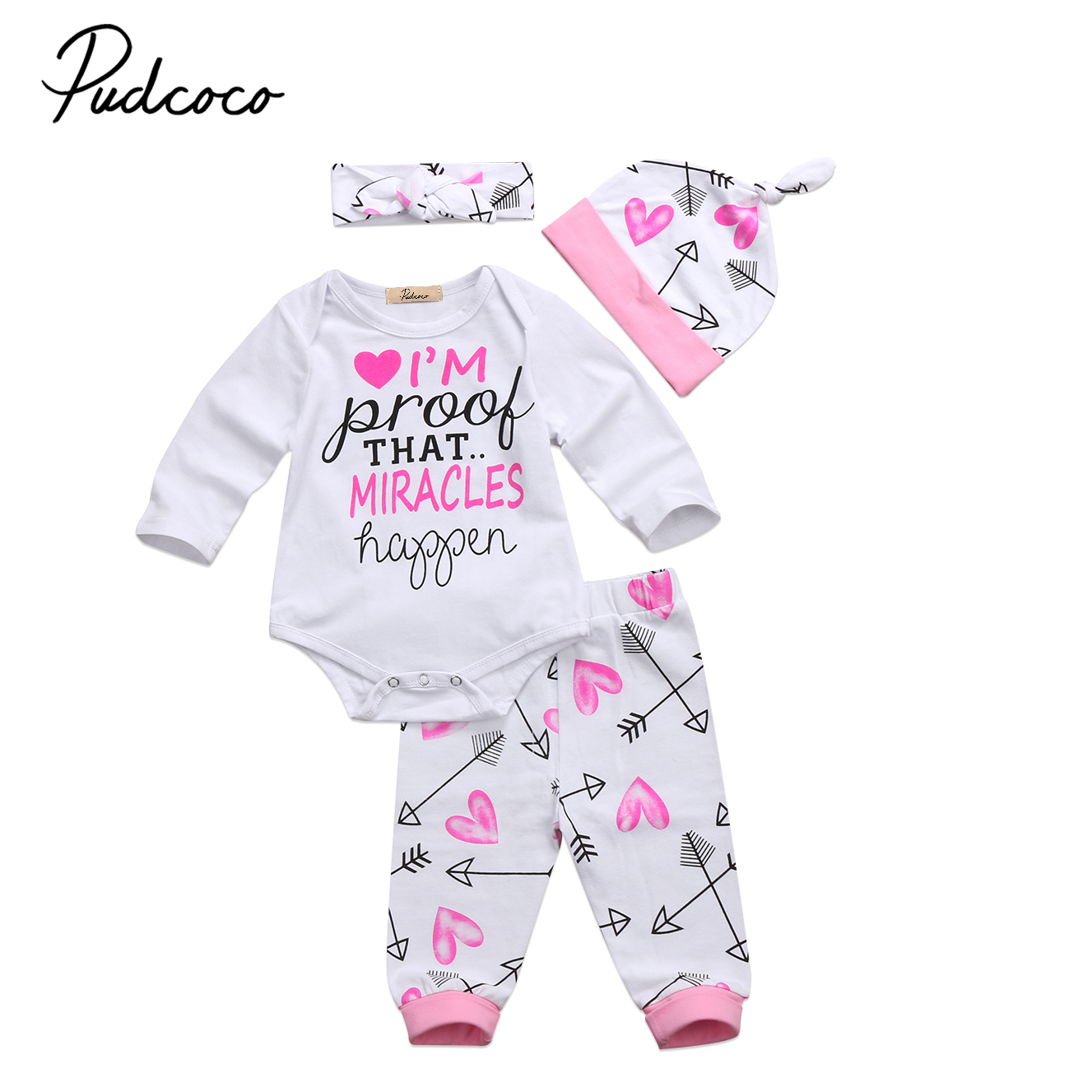 Newborn Baby Kids 4PCS Clothing Set Infant Baby Girl Outfit Romper+Long Pants+Hat Clothes Sets 0-2T