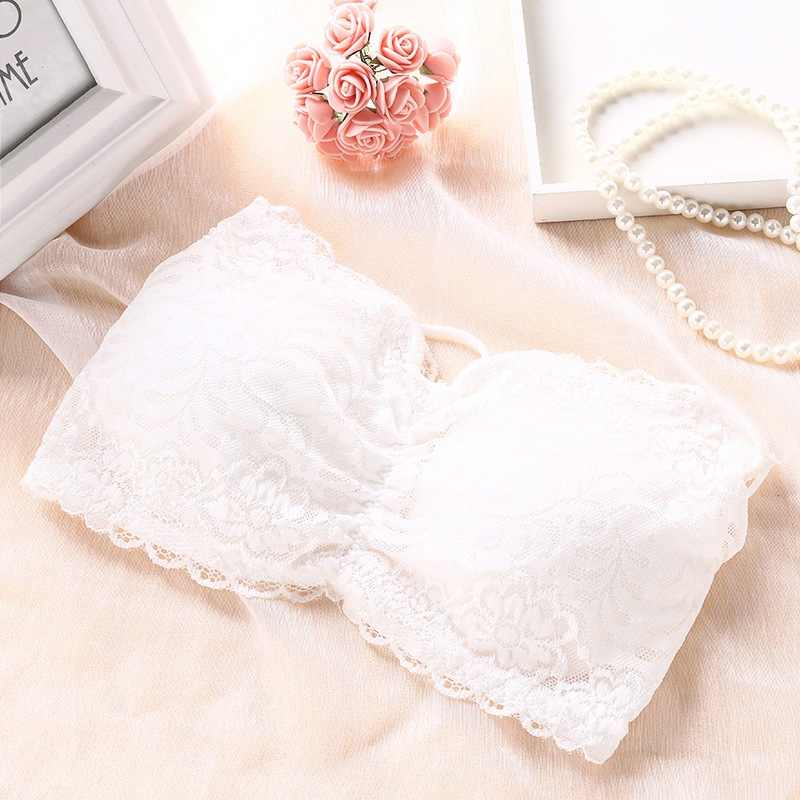 Female Lace Bra Wire Free Hollow Backless Wrapped Chest Women Floral Full Cup Strapless Underwear