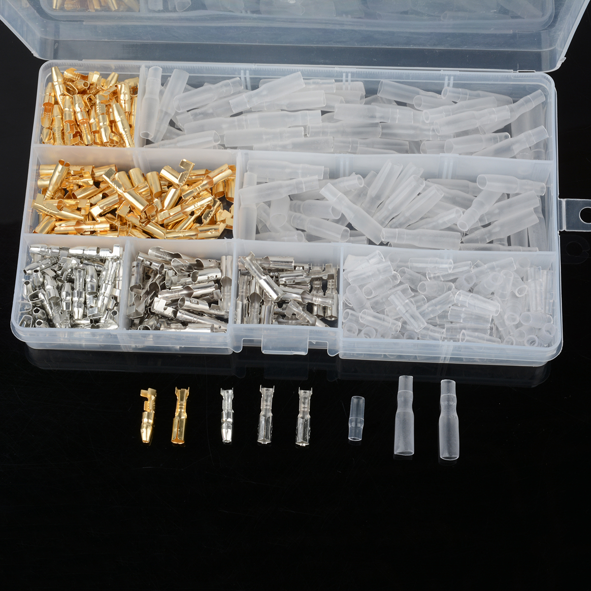 100 Set 3.9mm Brass Bullet Connectors Male & Female Silver Gold With Covers For Motorcycle Scooter Car Trauck