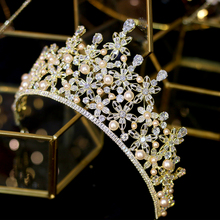 Large  zirconium stone beads zirconia gold crown CZ headband bride Coroa hair wedding accessories