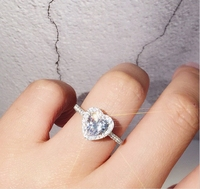 Elegant Fashion 925 Sterling Silver Women's Beauty Crystal Wedding Stone Lady Heart Ring Size 6 7 8 Hot Sale Top Quality Jewelry