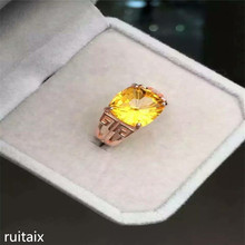KJJEAXCMY fine jewelry 925 Pure silver inlay natural yellow crystal lady miniature ring