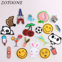 ZOTOONE UFO Iron on Patches for Clothing Sequin Cherry Animal Rabbit Custom Embroidery Patch Applique Clothes Decoration Pride E