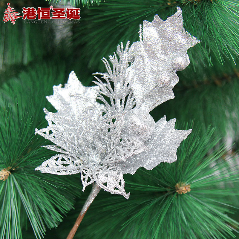 gold silver blue artificial christmas flowers decoration plastic christmas tree ornament decorations shining bling bling flower in trees from home garden - Christmas Flower Decorations