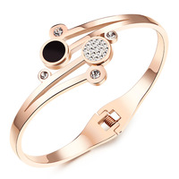 Women Bracelet - Flower Shaped Open Bangle lnlaied Cubic Zirconia