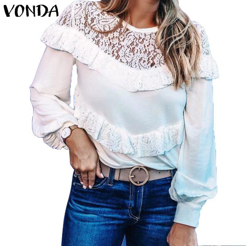 Женская блузка с длинным рукавом VONDA, весенне-осенняя кружевная блузка для вечеринки, Повседневная офисная Туника большого размера, 2020