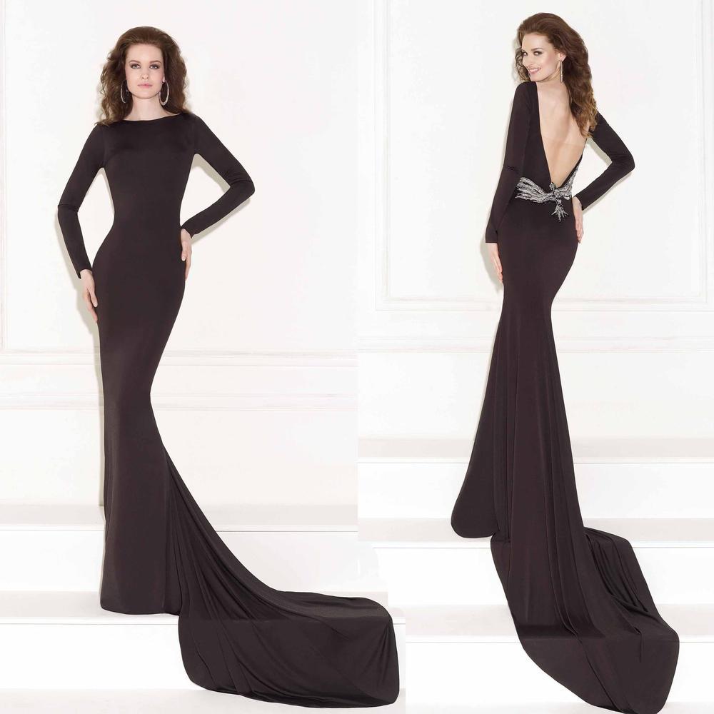 Длинная рукава вечернее платье высокая шея черный джерси длинная рукава вышивка бисером кристаллы с низким вырезом на спине шлейф «для суда» официальный пром платья