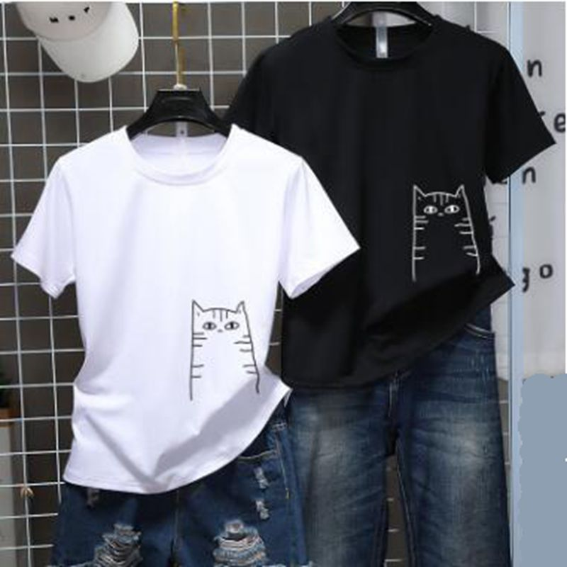 2020 Summer T Shirt Harajuku Kawaii Cute Cat Boyfriend And Girlfriend T-shirt Short Sleeve Tops Couple Shirt