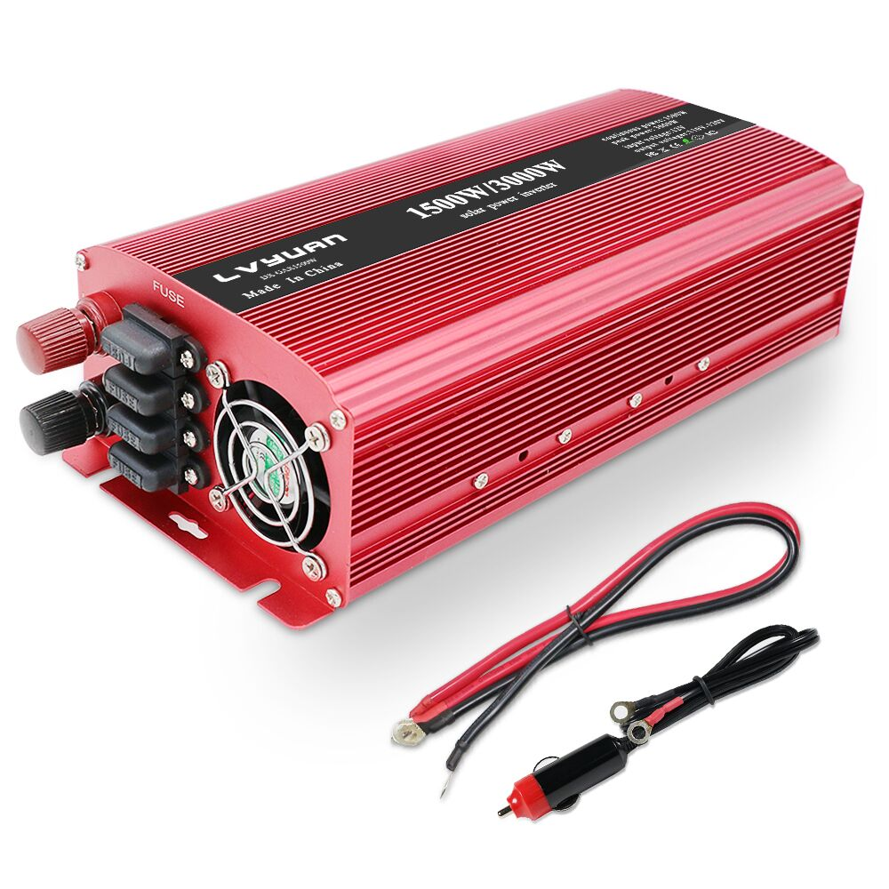 US $101 23 19% OFF|3000w car inverter converter dc 12v to ac 220v solar  power inverter charger replaceable fuse with dual socket-in Inverters &