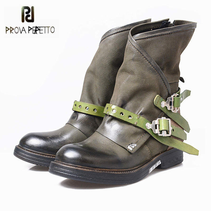 Prova Perfetto Fashion Women Ankle Boots Buckle Straps Genuine Leather High Boots Autumn Winter Female Platform Botas Mujer prova perfetto winter women warm snow boots buckle straps genuine leather round toe low heel fur boots mid calf botas mujer