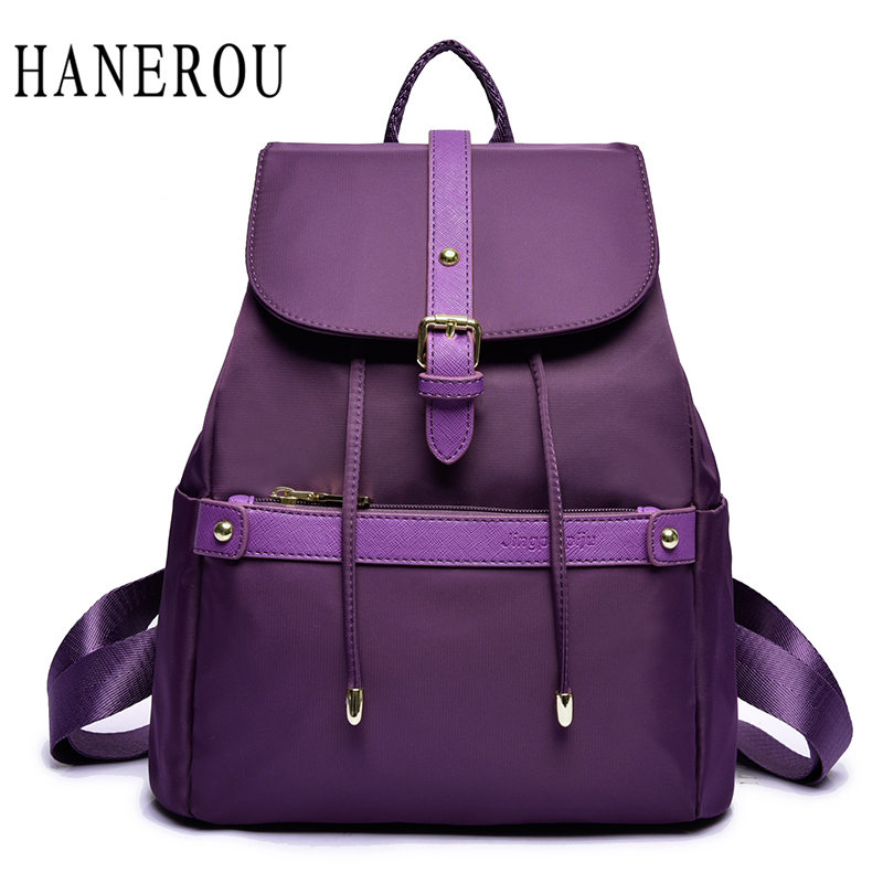 Waterproof Nylon Women's Backpacks Female Casual Travel Bag Fashion Belt School Bags For Teenagers Famous Brand School Backpack large 14 15 inch notebook backpack men s travel backpack waterproof nylon school bags for teenagers casual shoulder male bag