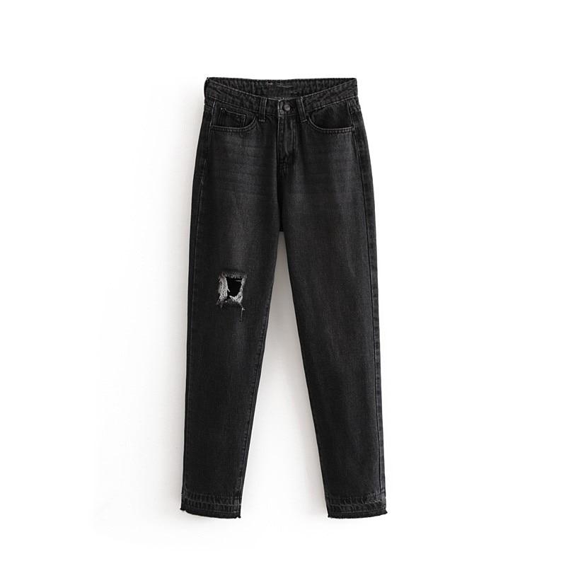 Nueva Moda Casual Delgado Cintura Alta Agujero Jeans 2018 RH5wqgq