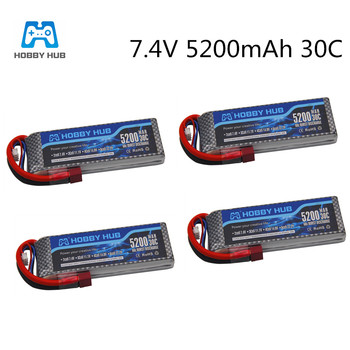 HOBBYHUB Racing 7.4V 5200mAh Lipo Battery LiPo Lithium-Polymer Batterie 30C 2S Battery For RC Airplane Drone Helicopter Car