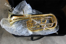 Baritone 3+1 Piston Brass Body With Foambody case and mouthpiece Musical instruments Free shipping