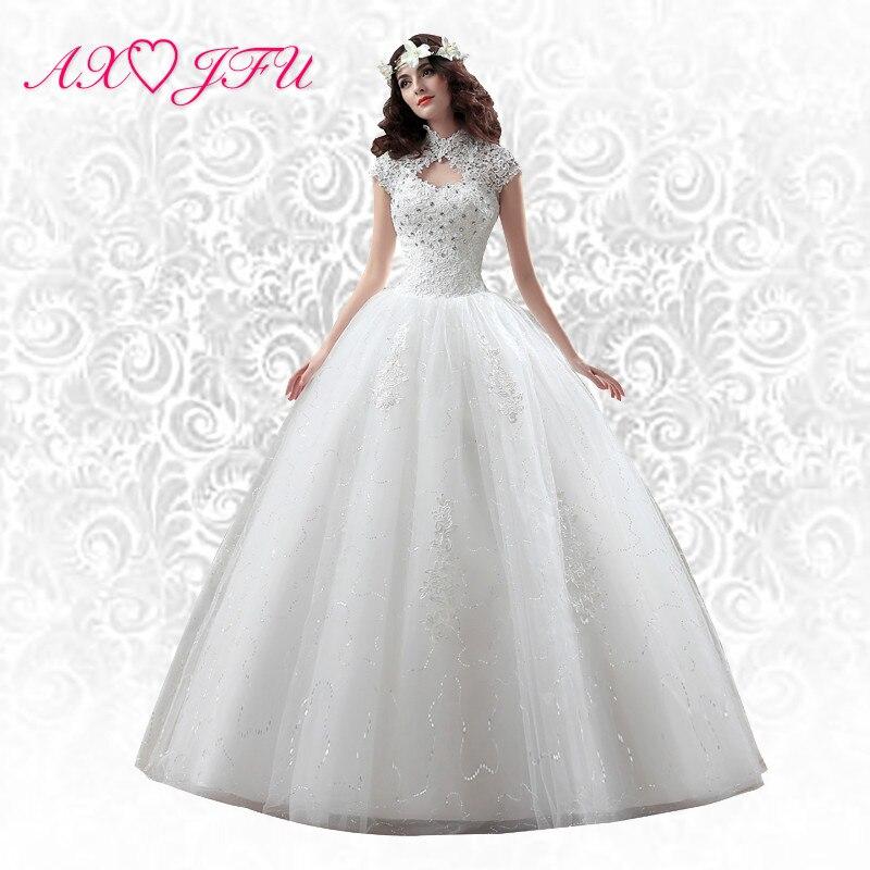 AXJFU Flower Vintage Wedding Dress Slim Bandage Plus Size