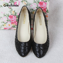 Zapatos De Mujer Women Cute Street Pattern Black Flat
