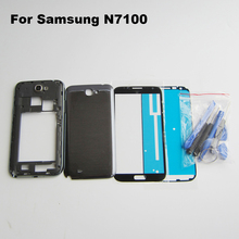 For Samsung Galaxy Note II 2 GT-N7100 N7100 Full Housing Case Middle Frame Bezel + Battery Cover + Front Outer Glass Lens + Tool