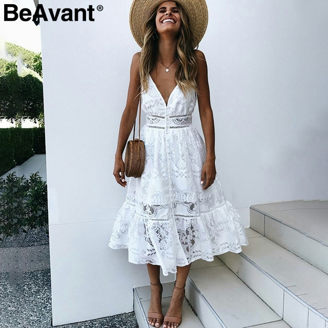 f68d48168dae BeAvant v neck sexy lace summer dress women Strap button casual white dress  female Streetwear backless