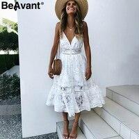 BeAvant V Neck Sexy Lace Summer Dress Women Strap Button Casual White Dress Female Streetwear Backless