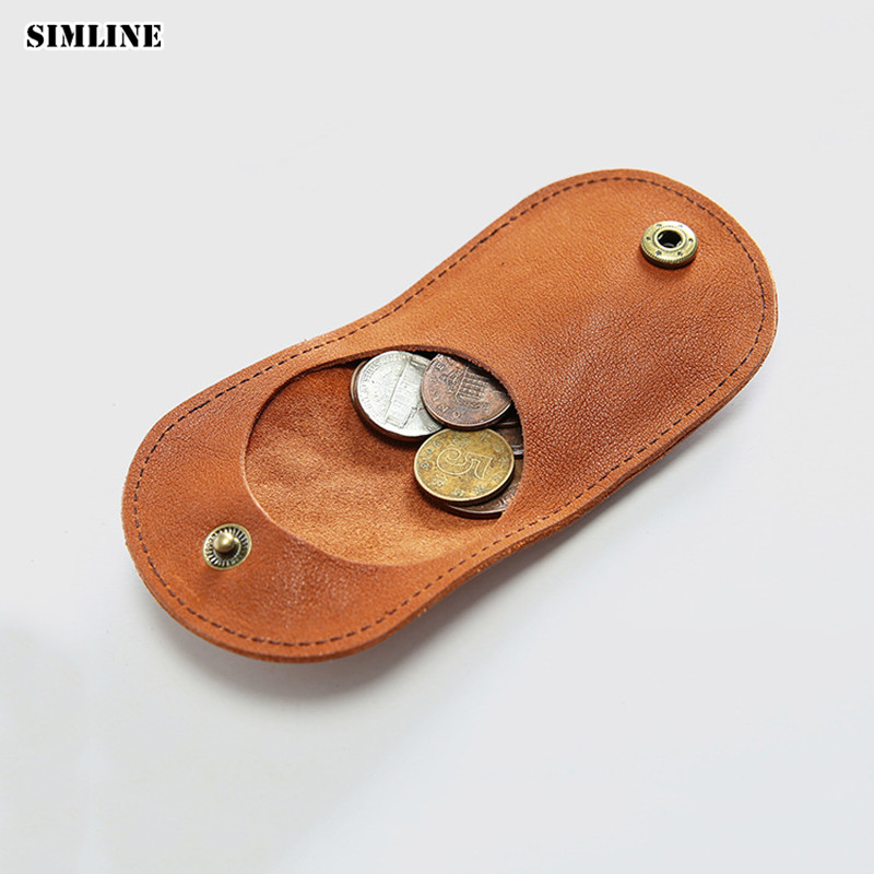 SIMLINE Genuine Leather Coin Purse Woman Men Vintage Handmade Cowhide Mini Small Wallet Wallets Purses Case Bag Holder For Women